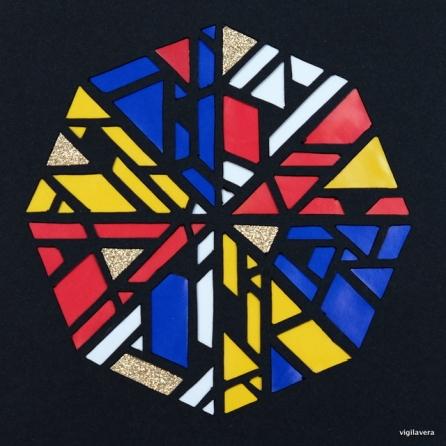 Pascal-cirkel á la Mondrian 3 (2016) 15x15 cm SOLGT