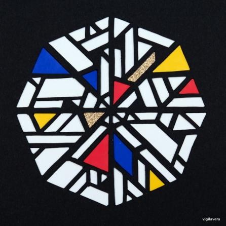 Pascal-cirkel á la Mondrian 2 (2016) 15x15 cm. Pris 300 kr.