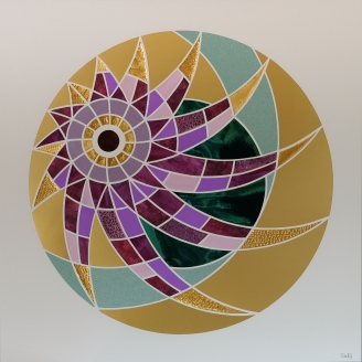 Spiral Solopgang i Universet. Sunrise in the Universe (2020). 70x70 cm. Pris: 2000 kr.