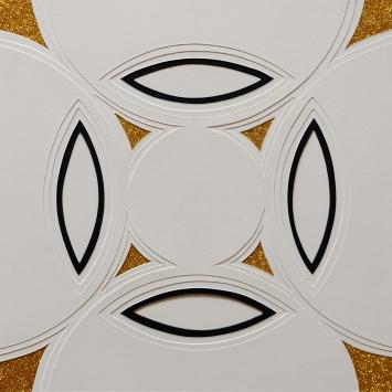 Reliefkakkel Sortguld. 30x30 cm (2016). Pris 400 kr.