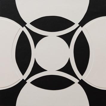 Relief Kakkel s/h Hvid. 30x30 cm (2016). Pris 400 kr.